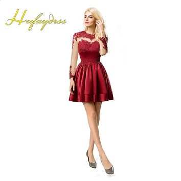 Burgundy Cocktail Dresses 2017 Sheer Neck Lace Long Sleeves Mini Special Occasion Dresses Formal Dresses Plus Size 12221603