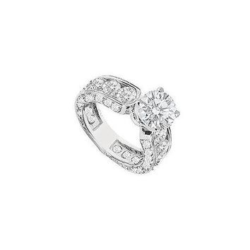 14K White Gold Semi Mount Engagement Ring with 3.70 Carat Diamonds Not Included Center Diamond