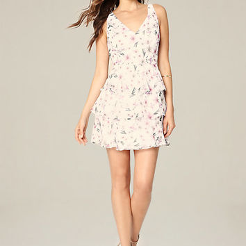 PRINT RUFFLE TIERED DRESS