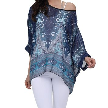 Vanbuy Women Summer Floral Printed Batwing Sleeve Top Chiffon Poncho Casual Loose Shirt