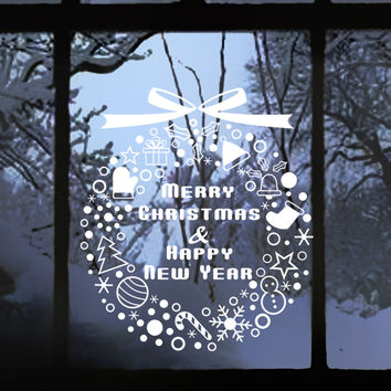 """ZooYoo White """"Merry Christmas & Happy New Year"""" Letters Window Glass Wall Art Sticker Decal Film Decor adornos navidad 2016"""