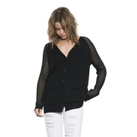 Womens Black Aspen Classic Cardigan Long Sleeve Sweater By One Grey Day