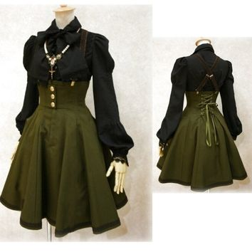 Army Green Victorian Suspender Steampunk Skirt Back Lace Up High Waist Gothic