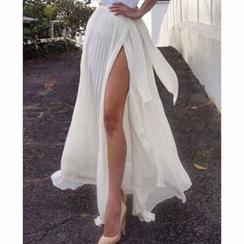 FASHION PURE COLOR OPEN FORK SKIRTS