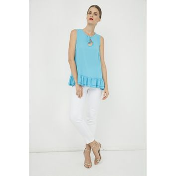 Turquoise Sleeveless Polyester Top