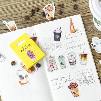 45pcs All kinds of drinks coffee photo album Scrapbook diary paper decoration sticker diy Handmade gift card stickers Arts Craft