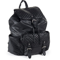 Aeropostale Quilted Faux Leather Backpack - Black, One
