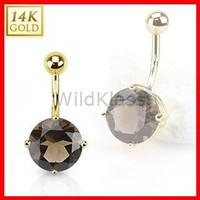 14k Solid Gold Ring 14g Belly Button Ring Smoky Quartz 14k Yellow Gold 14g Navel Ring Navel Jewelry Belly Button Jewelry