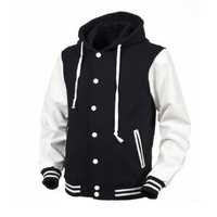 Angel Cola Navy Blue & White Hoodie Varsity Cotton & Leather Letterman Jacket