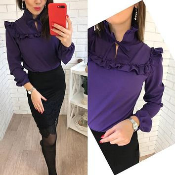 Summer Fashion office work Stand neck Blouses 2018 New women Chiffon Chest Ruffle Long Sleeves Tops purple shirt