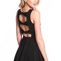BEADED BOW BACK SKATER DRESS