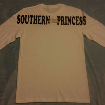Southern Princess Long Sleeve Woman's Tshirt 2 Sided with Pocket Design on Front
