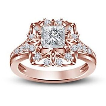 14K RoseGold Over 925 Silver Multishape CZ Disney Princess Belle Engagement Ring