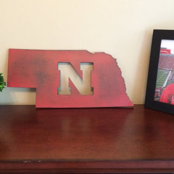 "23"" wide x 10"" tall Nebraska state sign NE sign Husker Nation sign custom state sign custom wall decor wood state cutout college football"