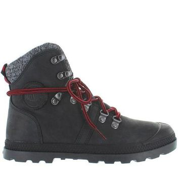 ESBONIG Palladium Pallabrouse Hiker LP - Black/Red/Castlerock Leather/Textile Hiking Boot