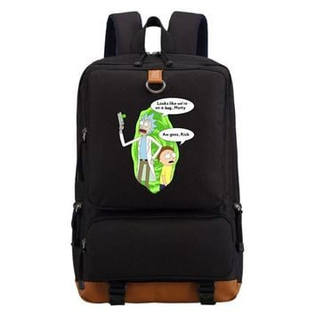Student Backpack Children WISHOT Rick and Morty backpack schoolbag casual backpack teenagers Men women's Student School Bags travel Laptop Bags AT_49_3