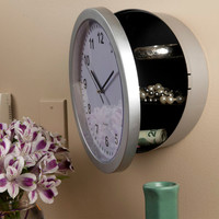 Evelots Mountable Round Wall Clock Hidden Safe - Security For Valuables, Silver