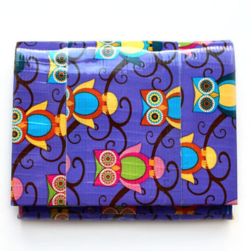 Duct Tape Wallet, Mini Accordion Bifold ~ Retro Owls. Coin Purse/Pocket Wallet/Accordion Wallet/Duct Tape Craft/Teen Wallet/Small Wallet