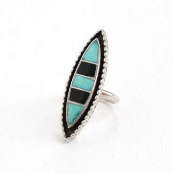 Vintage Sterling Silver Zuni Turquoise Onyx Stone Ring - Retro 1960s 1970s Tribal Inlay Blue and Black Gem Native American Jewelry L&J