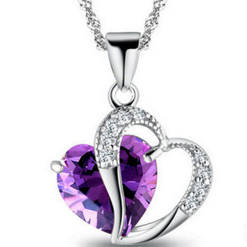 M-TARA 1PC Sterling Silver Plated Blue Crystal Gemstone Amethyst Heart Pendant Necklace Gift