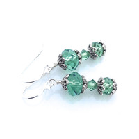 Green Crystal Earrings, Antique Silver, Dangle, Swarovski Crystal