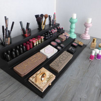 Makeup organizer - magnetic display - Beauty station in black/white - bathroom storage - Rangement maquillage - lipstick organizer