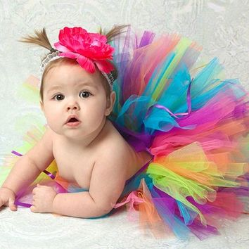 Rainbow Tutu Set for Girls sizes newborn baby through toddler 24months - includes Sewn tutu and matching headband