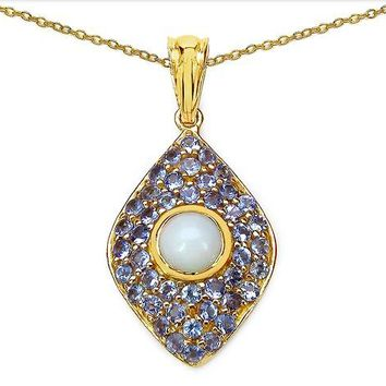 1.82ct Genuine Ethiopian Opal & Tanzanite 14kt Gold-Plated .925 Sterling Silver Pendant/Necklace