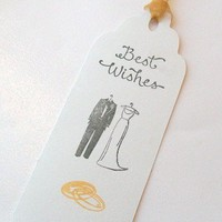 Wedding Wishing Tree Tags with Bride, Groom and Rings set of 50 | silverliningdesigns - Wedding on ArtFire