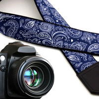 Ornamental camera strap. Abstract flowers crossbody strap. Dark blue DSLR / SLR Camera Strap. Gift idea by InTePro