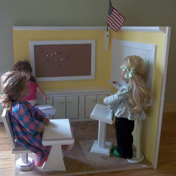 schoolroom made for American Girl size doll furniture school desk bulletin board