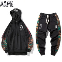 Bape Aape Fashion New Letter Print Camouflage Men Sports Leisure Hooded Long Sleeve Sweater Top And Pants Two Piece Suit Black