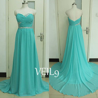 New Sweetheart bridesmaid dress turquoise prom dress beaded chiffon wedding party bridal gown graduation long beach dress Sequins Dance gown