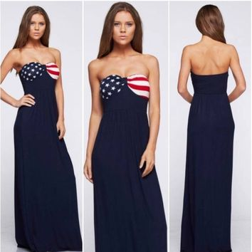 Navy American Flag Maxi Dress
