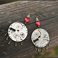 Steampunk Earrings vintage watch parts and red valentine heart handmade gift