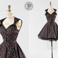 1950s vintage style pin up dress in black floral by TheParaders