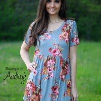 Jodifl Gray Floral Print Short Sleeve Babydoll Dress