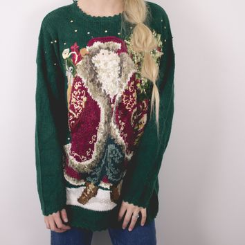 Vintage Santa Claus Knit Ugly Christmas Sweater