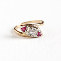Vintage 14k Yellow and White Gold Diamond & Created Ruby Ring - Retro Size 4 1/4 Three Stone Red Heart Gem Fine Anniversary Jewelry