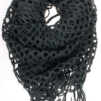 "Dry77 Knitted Fishnet Chain Loop Eternity Infinity Scarf, Dark Grey, 27"" x 50"""