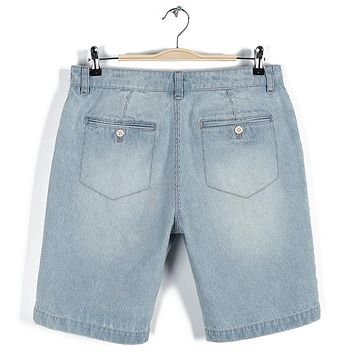 Men Summer Cotton Stripe Denim Jeans Shorts Male Clothes Short Pants Light Blue Jeans Shorts