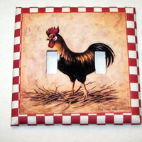 Double Light Switch Cover - Light Switch Plate Country Rooster Kitchen Decor