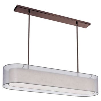 Dainolite MEL448-814-720-OBB Melissa Four-Light Oil Brushed Bronze Oval Pendant w/ a Silver and Cream Double Shade and a Diffuser