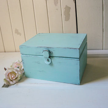 Aqua Mint Small Jewelry Box, Teal Wooden Jewelry Chest, Beach Chic Jewelry Holder, Cottage Chic, Gift Ideas, Shabby Chic, Bridesmaid Gift
