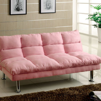 A.M.B. Furniture & Design :: Bedroom furniture :: Futon beds :: Saratoga III Contemporary Style Design Pink Finish Microfiber Pillow Top Futon Sofa with Chrome Finish Support Legs