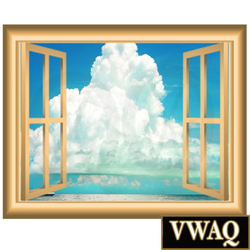 Ocean Clouds Wall Decal Window Frame Vinyl Wall Art Peel and Stick Mural NW86