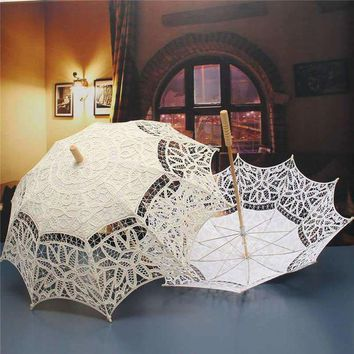 ONETOW Lace Parasol Umbrella for Decoration Bridal Wedding Umbrella Vintage Lace Umbrella Beige Ivory White Princess Gift