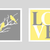 LOVE Birds, Modern Home Decor, Love Birds Wedding Tree, Living Room, Anniversary, Custom Wedding Gift, Modern Print, CUSTOMIZE your COLORS