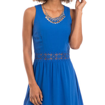 Blue Crush Crochet Waist Fit and Flare Dress