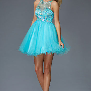 G2074 Jeweled High Neck Homecoming Cocktail Dress